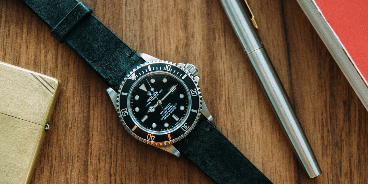 Rolex Sea-Dweller on coal handmade leather watch strap