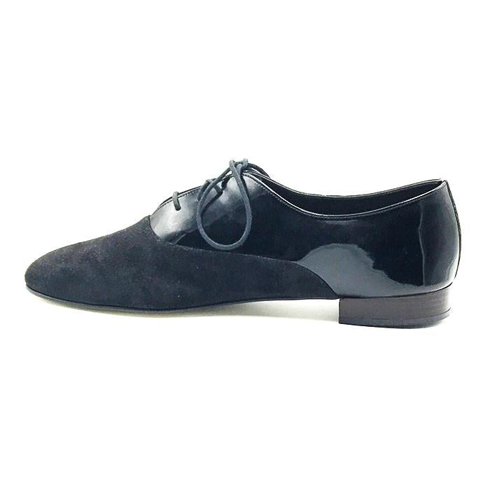 SH 109 shoes: black half patent leather, half bottom suede with black shoe laces. - ZBAZAAR
