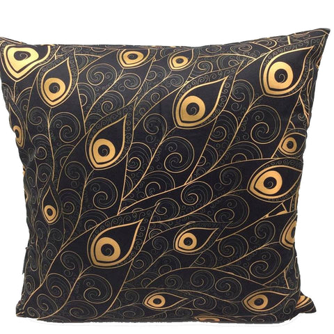 Throw Pillow Case Cover Golden Peacock Feather