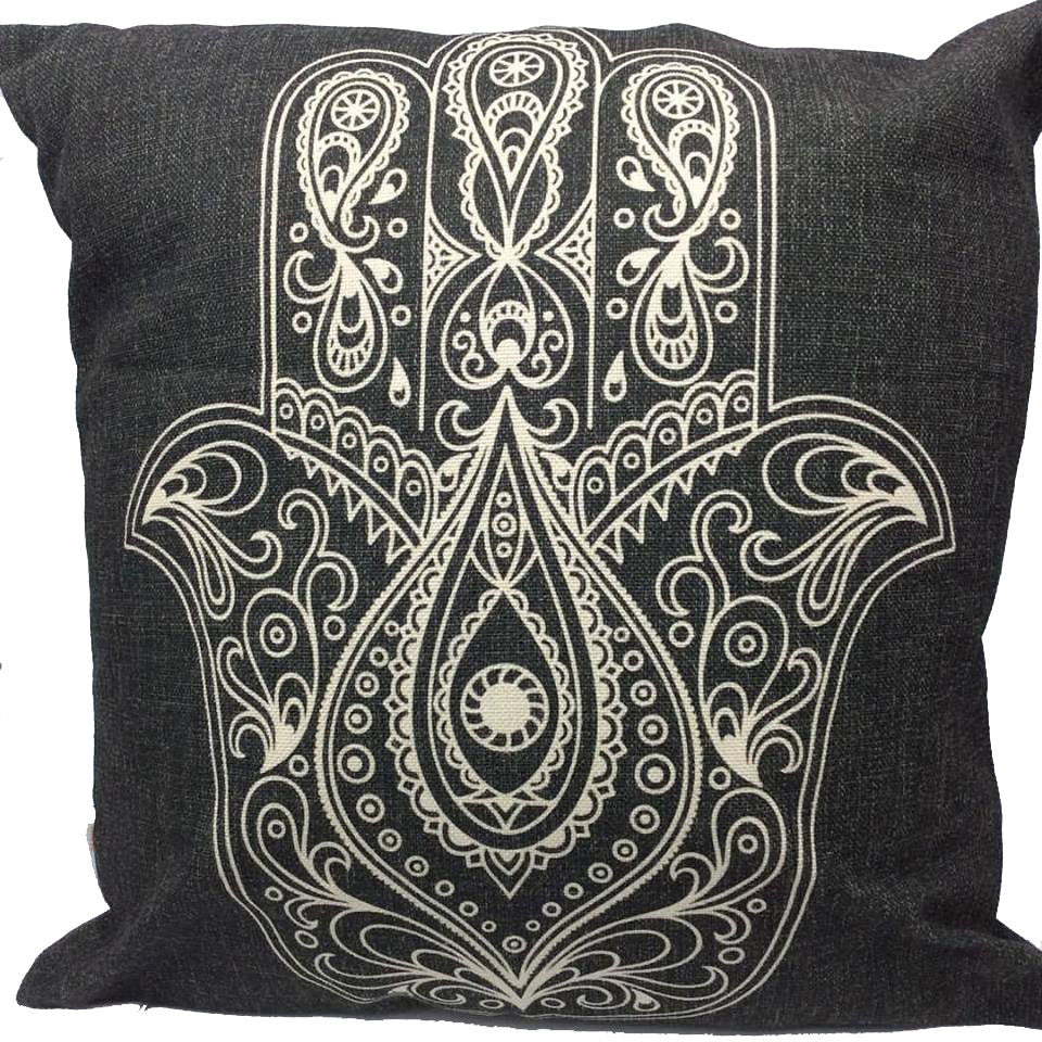 Throw Pillow Case Cover Hamsa Lucky Hand - ZBAZAAR