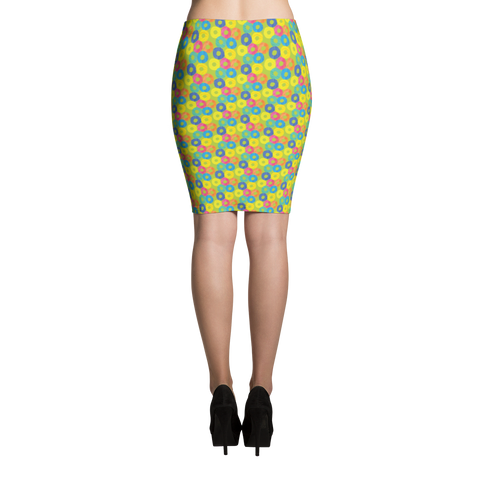 Pencil Skirt / Green Donuts