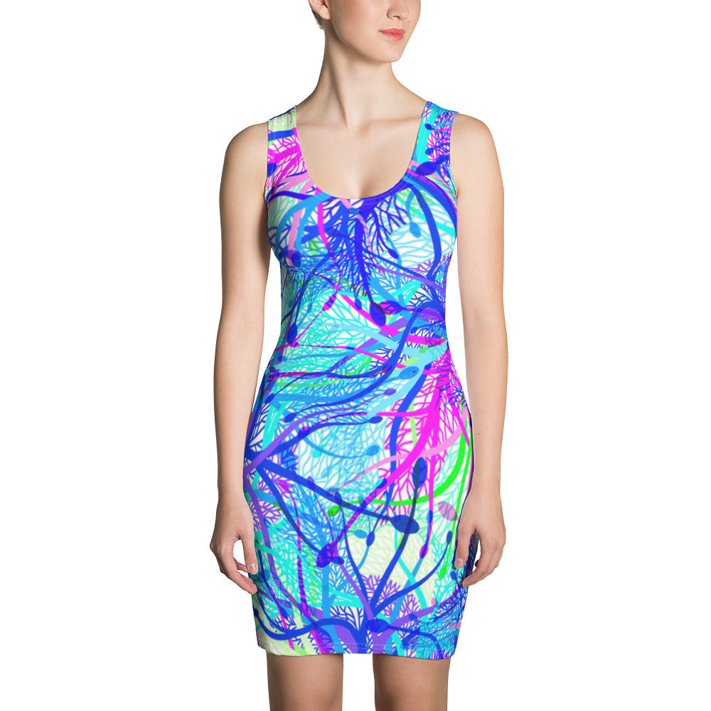 Blue Net Sublimation Cut & Sew Dress - ZBAZAAR