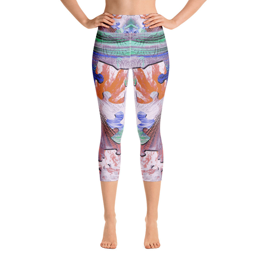Colorful Puzzle Yoga Capri Legging - ZBAZAAR