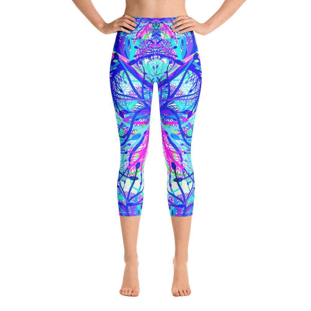 Blue Net Yoga Capri Legging - ZBAZAAR