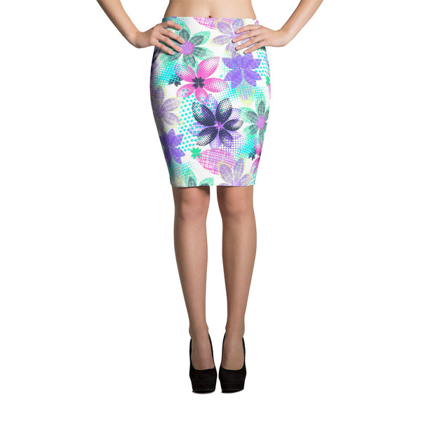Dream Flowers Pencil Skirt - ZBAZAAR
