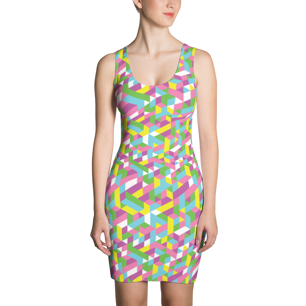 Pastel City Sublimation Cut & Sew Dress - ZBAZAAR