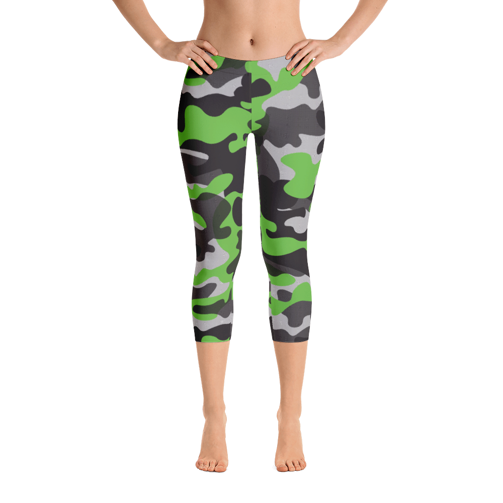 Capri Leggings / Green Camo - ZBAZAAR