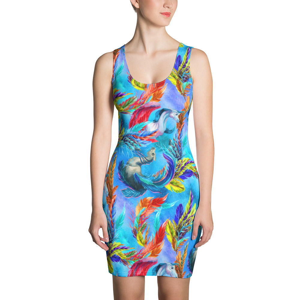 Feathers in the Sky Sublimation Cut & Sew Dress - ZBAZAAR
