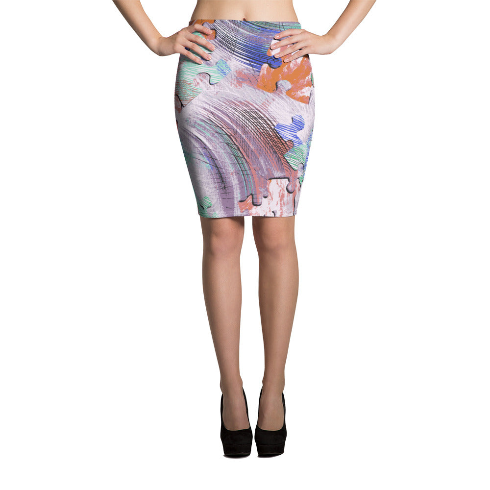 Colorful Puzzle Pencil Skirt - ZBAZAAR
