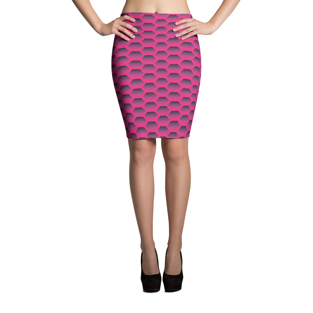 Pencil Skirt / Magenta Honeycom - ZBAZAAR