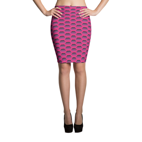Pencil Skirt / Magenta Honeycom