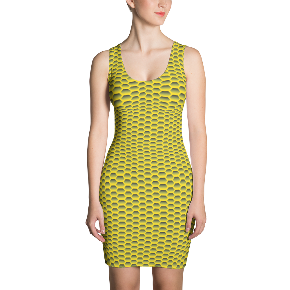 Sublimation Cut & Sew Dress / Yellow Honeycom - ZBAZAAR
