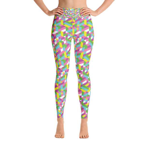 Yoga Leggings / Pastel Geometry - ZBAZAAR