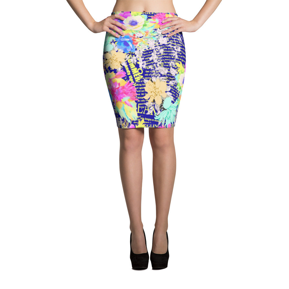 Floral Blue Pencil Skirt - ZBAZAAR