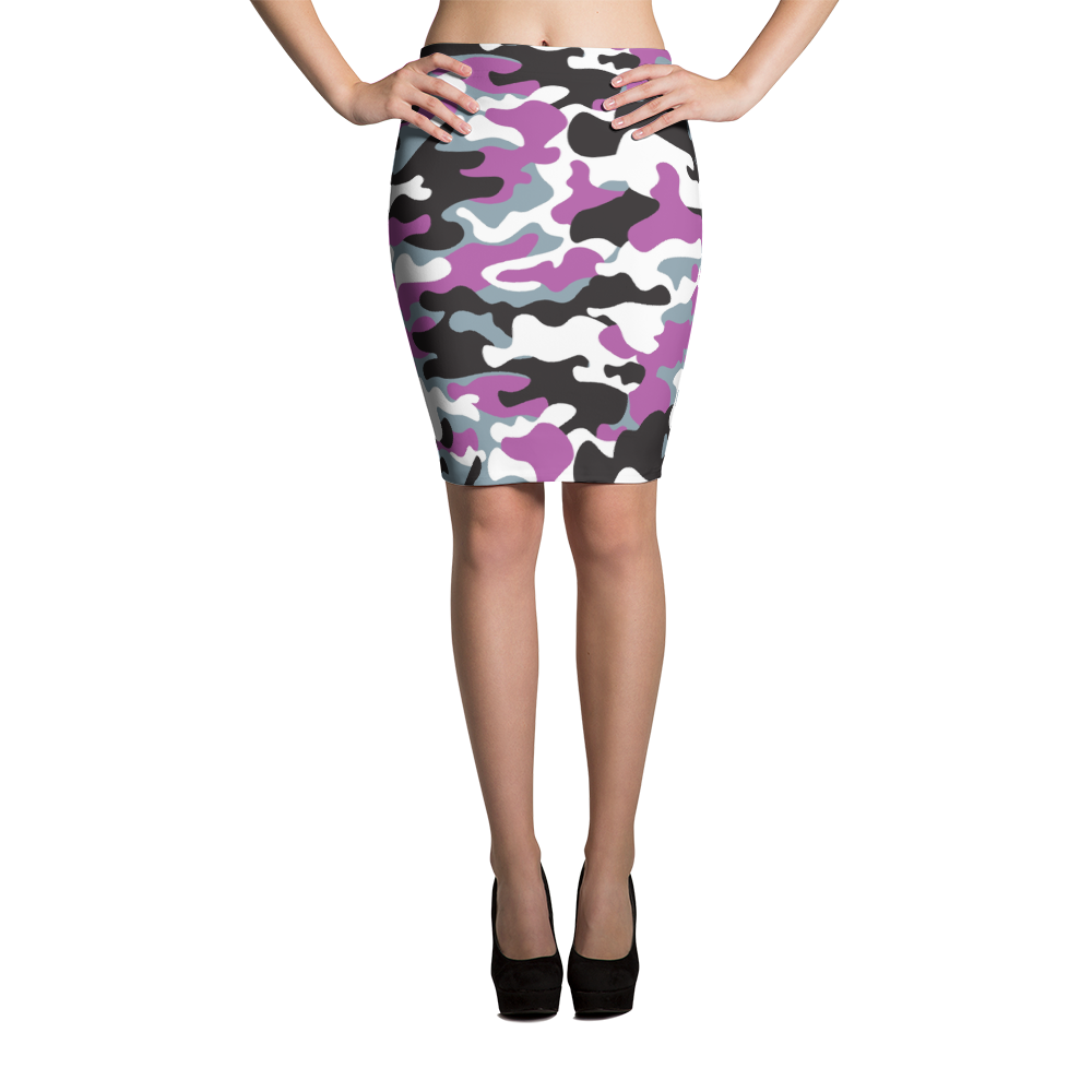 Pencil Skirt / Purple Camo - ZBAZAAR