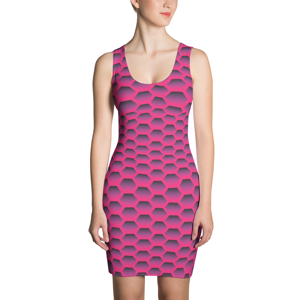 Magenta Honeycom Sublimation Cut & Sew Dress - ZBAZAAR