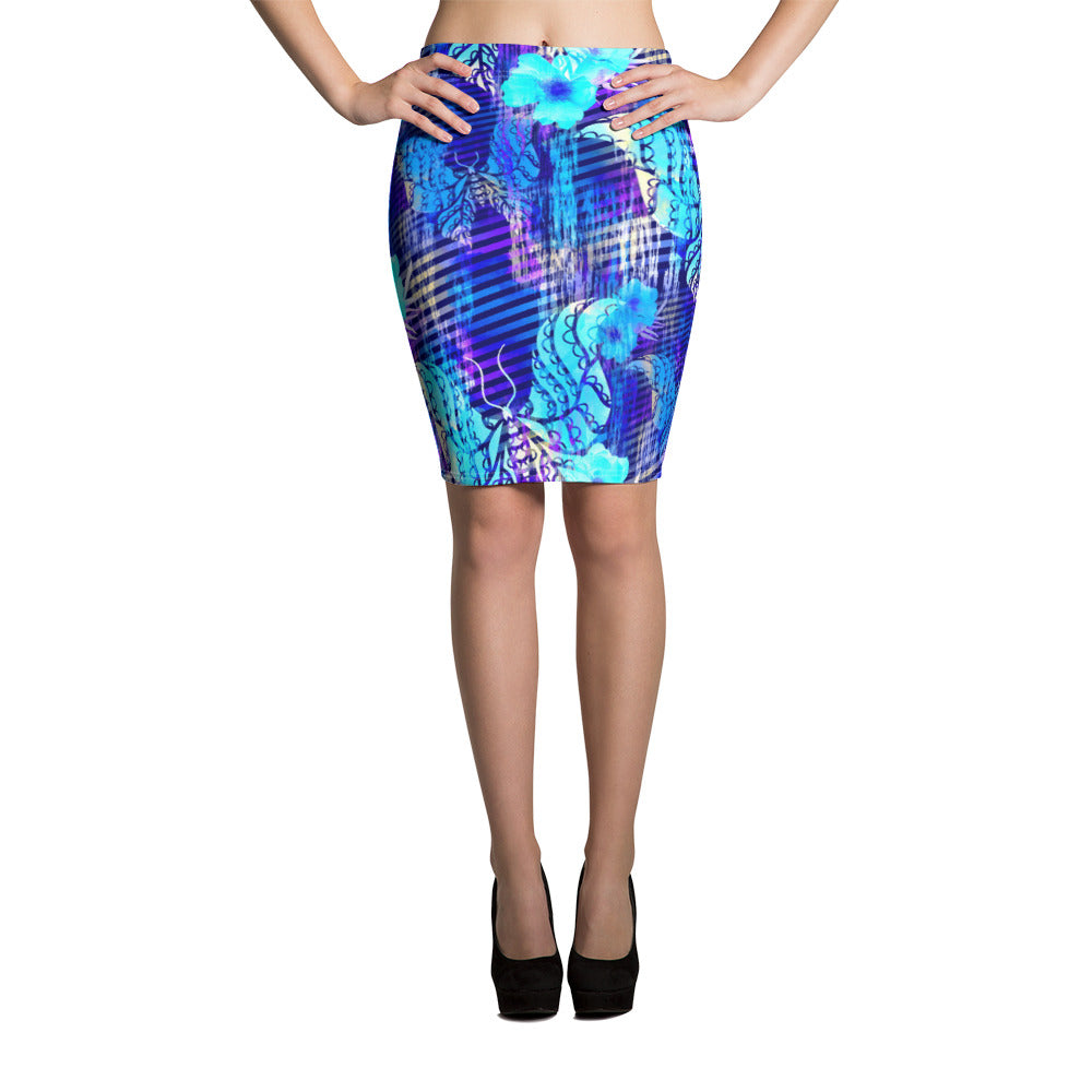 Blue Butterfly Pencil Skirt - ZBAZAAR