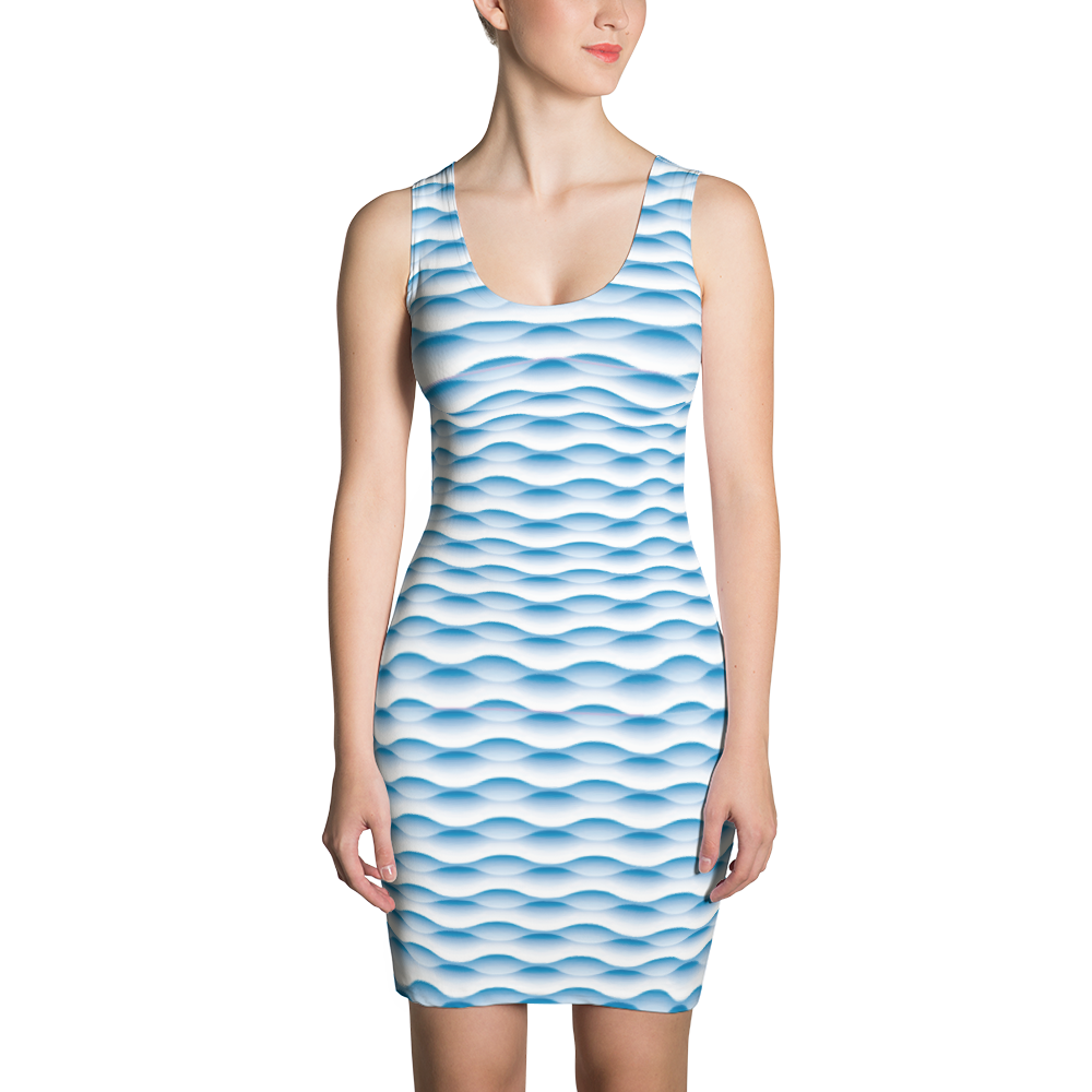 Blue Waves Sublimation Cut & Sew Dress - ZBAZAAR