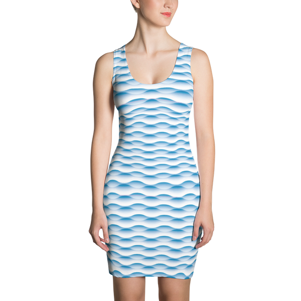 Sublimation Cut & Sew Dress / Blue Waves - ZBAZAAR