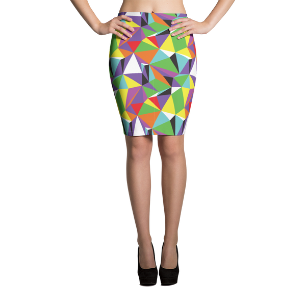 Pencil Skirt / Rainbow Geometry - ZBAZAAR