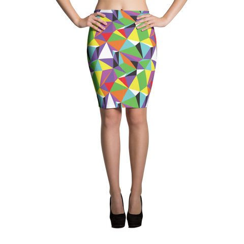 Pencil Skirt / Rainbow Geometry