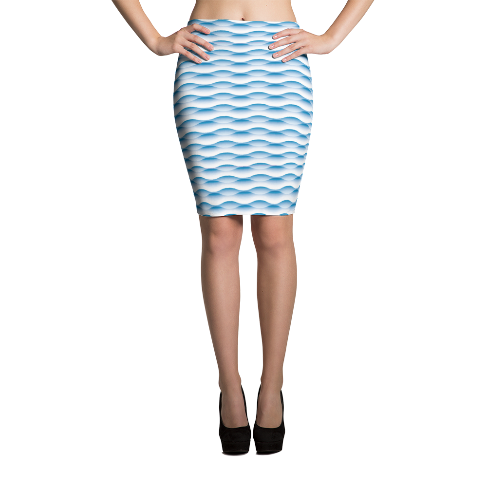 Pencil Skirt / Blue Wave - ZBAZAAR