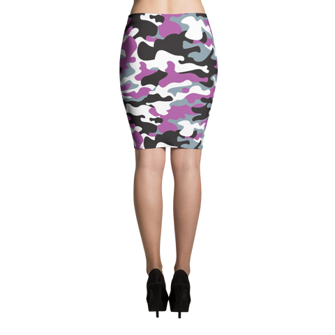 Pencil Skirt / Purple Camo