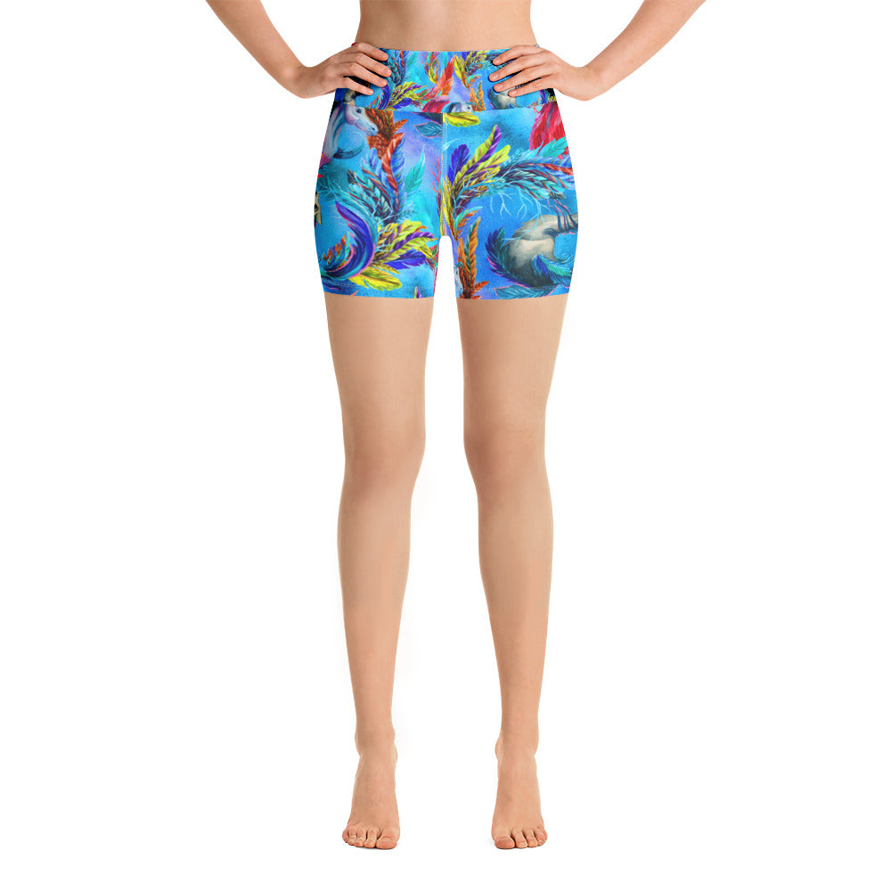 Feathers in the Sky Yoga Short - ZBAZAAR