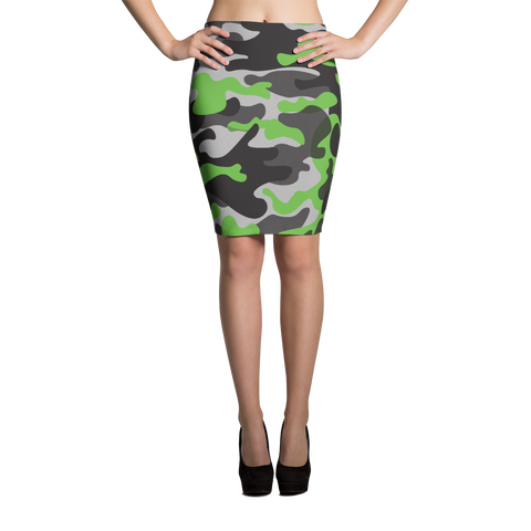 Pencil Skirt / Green Camo