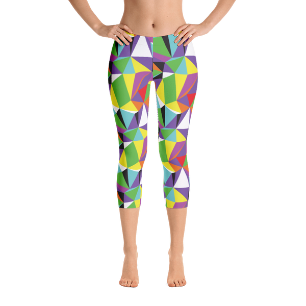 Capri Leggings / Rainbow Geometry - ZBAZAAR