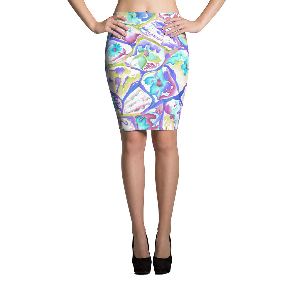 Colorful Cells Pencil Skirt - ZBAZAAR