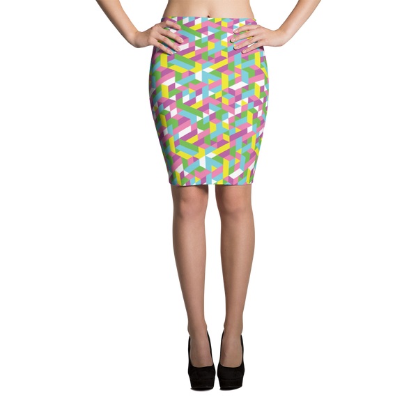 Pencil Skirt / Pastel City - ZBAZAAR