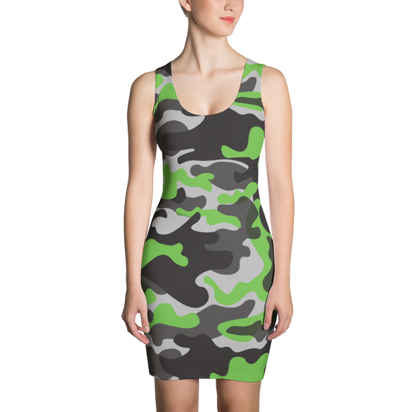 Green Camo Sublimation Cut & Sew Dress - ZBAZAAR