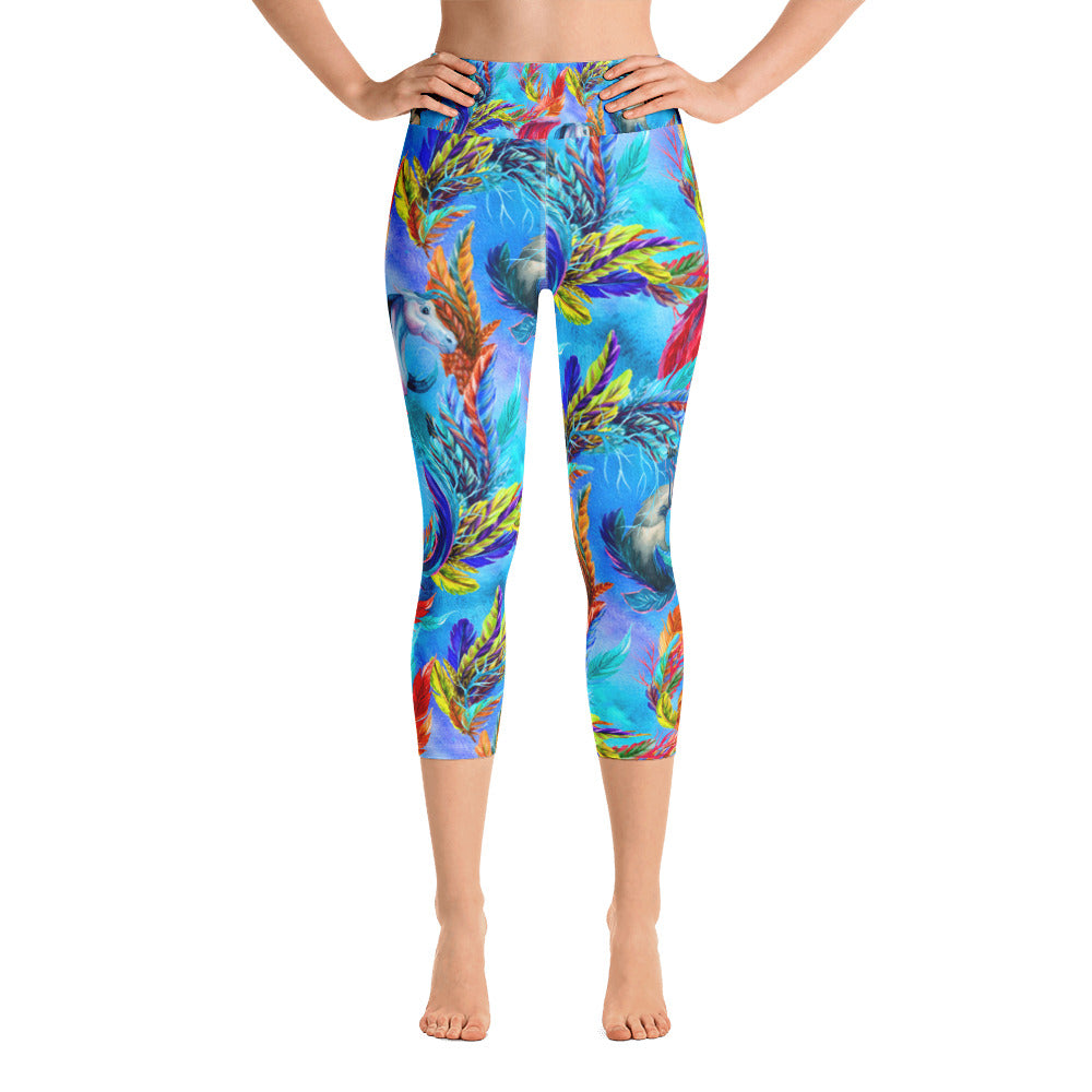 Feathers in the Sky Yoga Capri Legging - ZBAZAAR