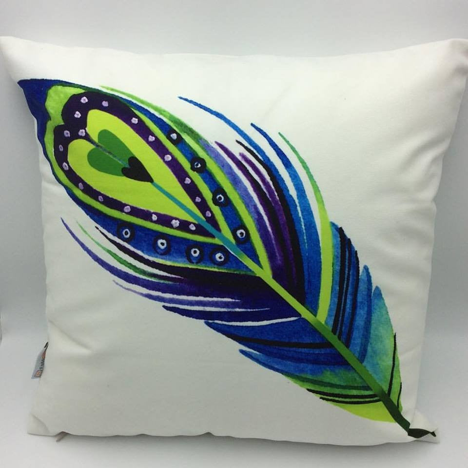 Throw Pillow Case Cover Peacock Feather - ZBAZAAR