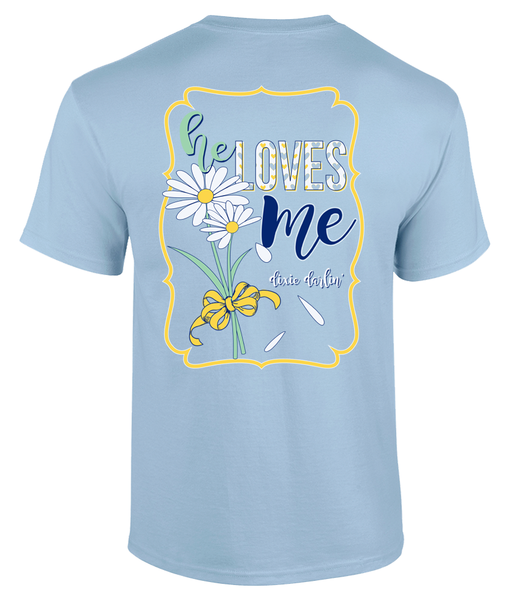 He Loves Me Tee - Light Blue