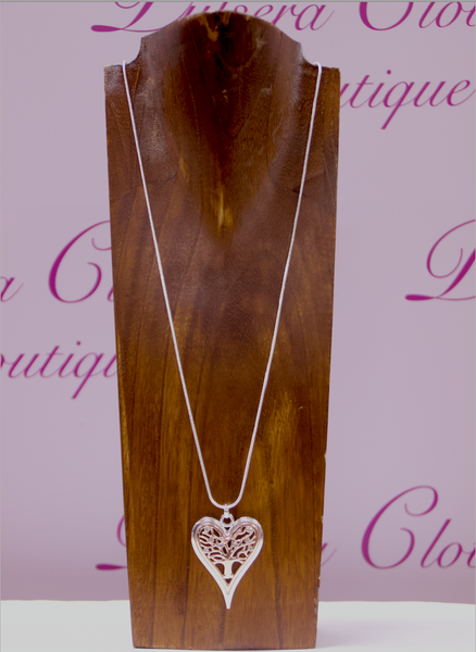 Two Tone Tree Of Life Heart Necklace