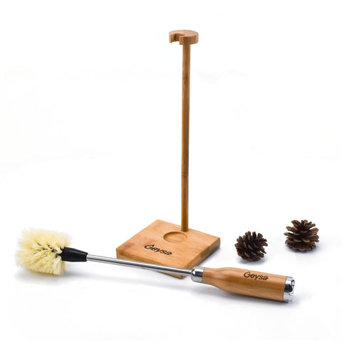 Geysa Bamboo Bottle Brush with Bamboo Stand and Holder