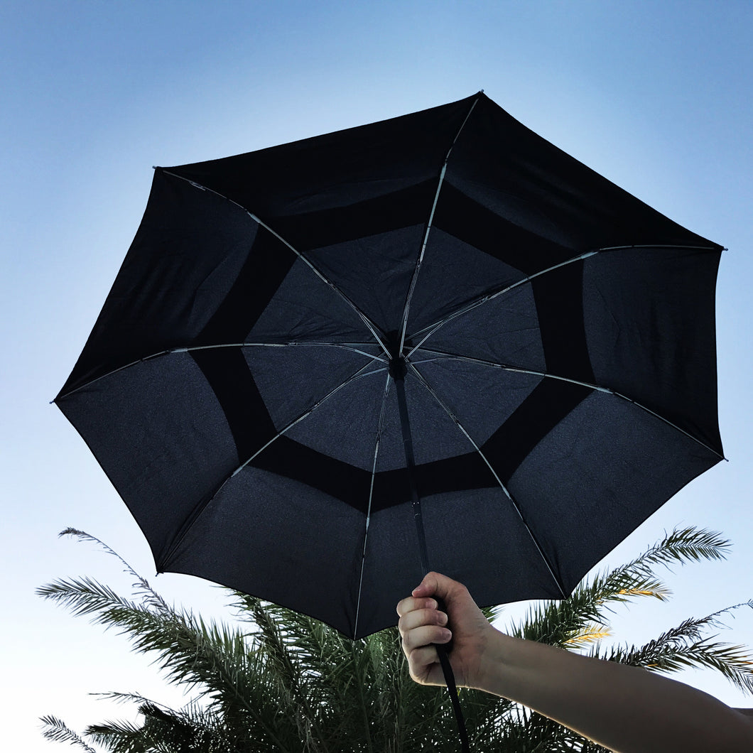 compact windproof double canopy umbrella with automatic opening