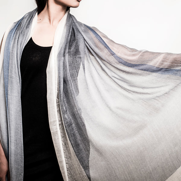 SHAWL - 100% cashmere | blue steel