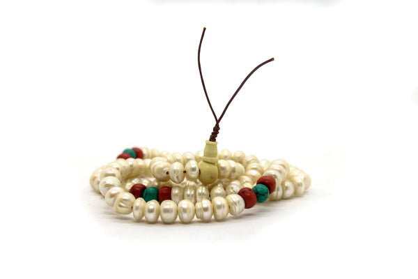 Mala | Pearl - Turquoise - Coral
