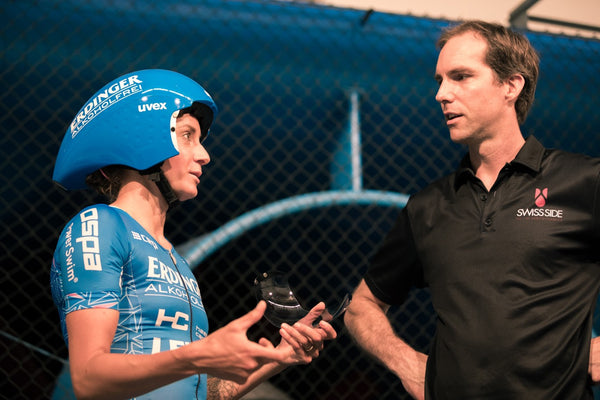 Laura Philipp with Swiss Side aero expert Jean-Paul Ballard in the wind tunnel