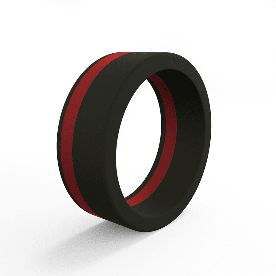 Men S Thin Red Line Pinstripe Silicone Ring Qalo Au