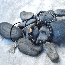 Load image into Gallery viewer, Healing Hematite Chakra Bracelet and Buddha Pendant Gift Set With A Luxurious Velvet Pouch