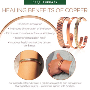 Copper Magnetic Bracelet Gift Set With A Luxurious Velvet Pouch