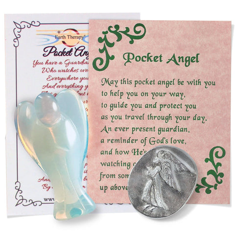 Opalite Guardian Angel Figurines with Serenity Prayer and Pocket Guardian Angel Token Pack for Spiritual Healing