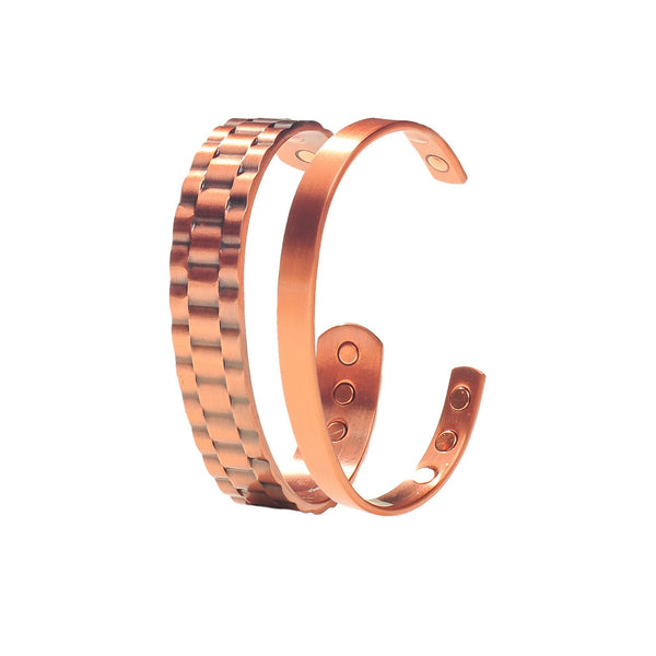 Value Pack 2 Pure Copper Magnetic Bracelets Recovery and Arthritis Relief for Men and Women