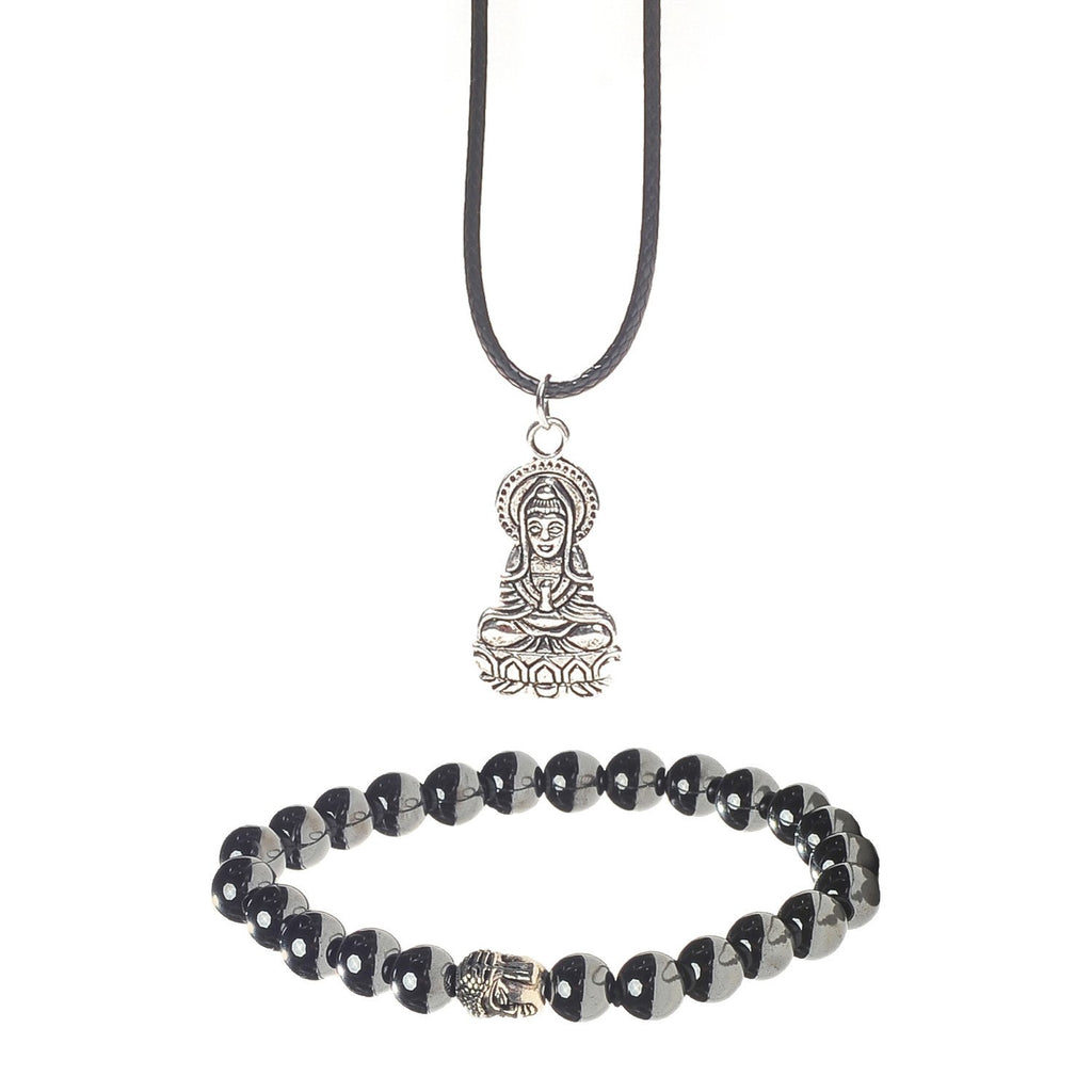 Healing Hematite Chakra Bracelet and Pendant Gift Set With A Luxurious Velvet Pouch