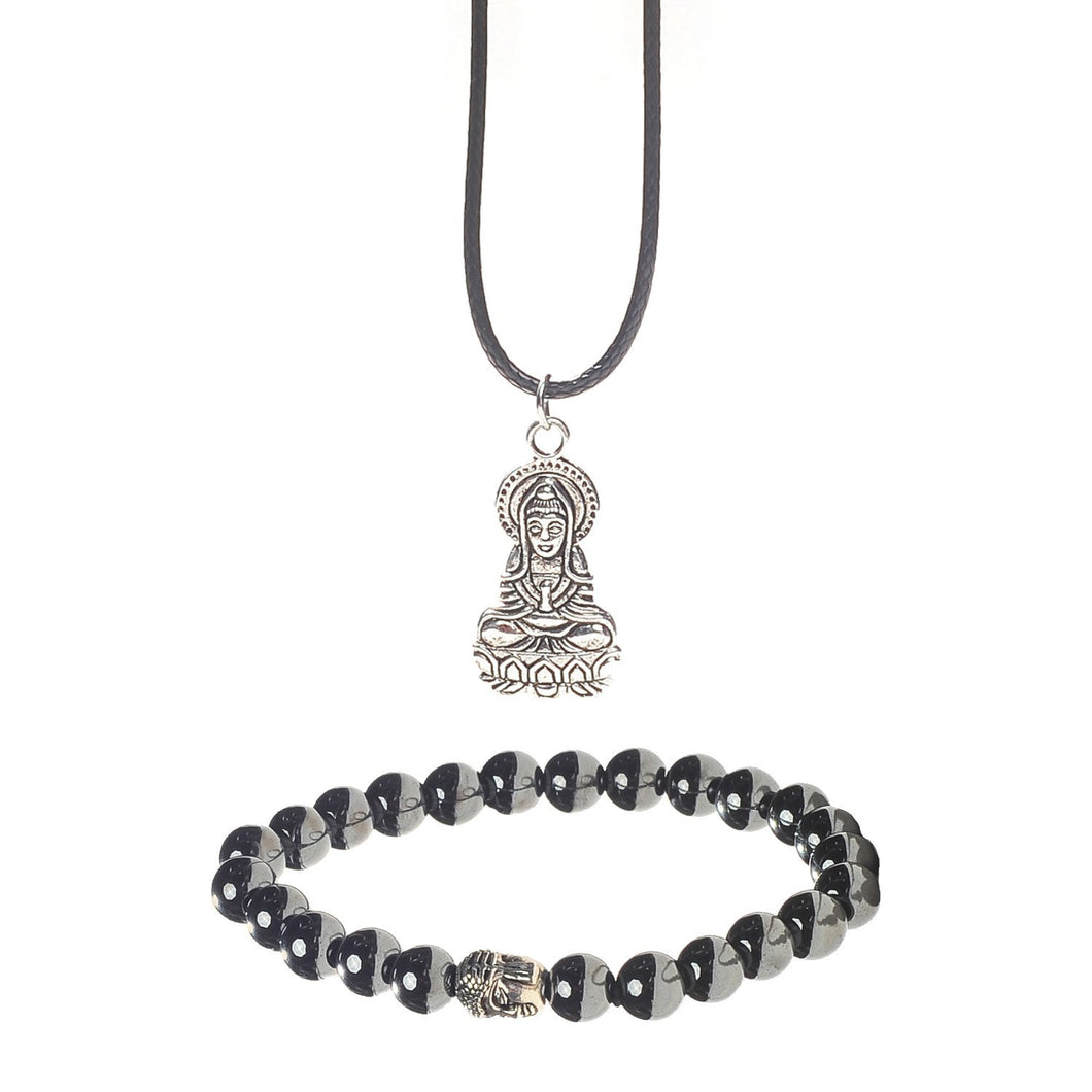 Healing Hematite Chakra Bracelet and Buddha Pendant Gift Set With A Luxurious Velvet Pouch