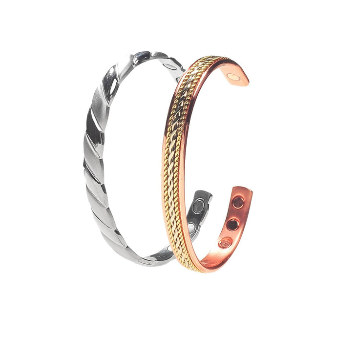 Silver-Plated and Rope Inlay Copper Magnetic Bracelet Gift Set With A Luxurious Velvet Pouch